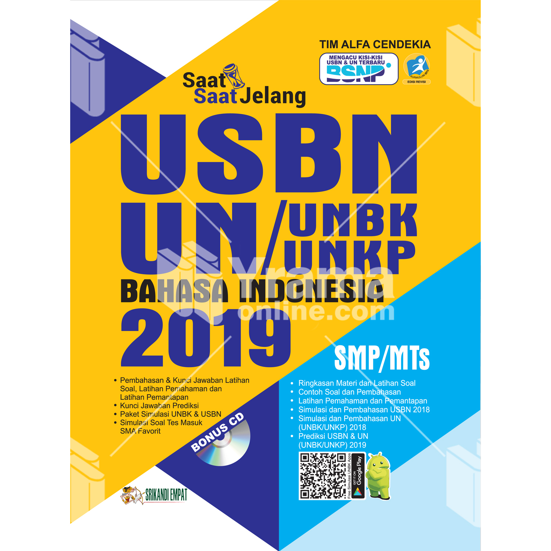 buku saat-saat jelang usbn unbk/unkp bahasa indonesia smp 2019